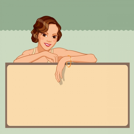 Smiling young woman leaning against a blank board in retro style Illustration