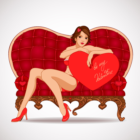 Pin-up sexy girl leaning against on a heart shape and sitting on the red couch heart shaped Vector