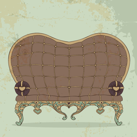 Illustration of vintage brown leather sofa heart-shaped Illustration