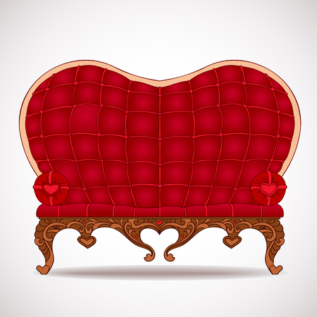 Illustration of stylish red leather sofa heart-shaped isolated on a white  Illustration