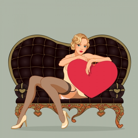 Vintage illustration of pin-up sexy girl leaning against on a heart shape and sitting on the black couch heart shaped