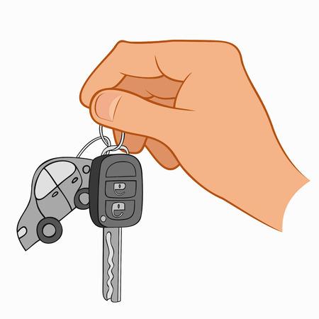 keys isolated: Ilustraci�n de una mano que sostiene las llaves del coche aislados en un fondo blanco