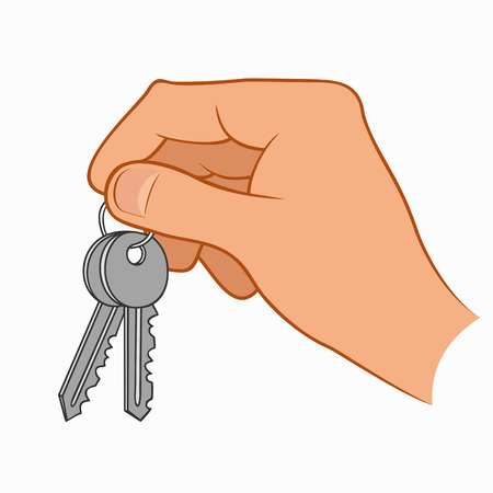Illustration of a hand holding house keys isolated on a white background Illustration