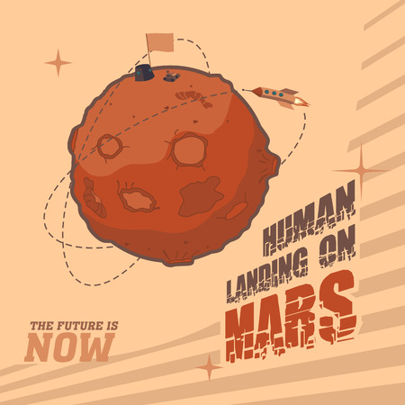 Vintage space postcard dedicated to the day of landing humans on Mars Vector