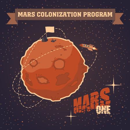cartoon astronaut: Vintage sapce postcard of the day of landing humans on Mars Illustration