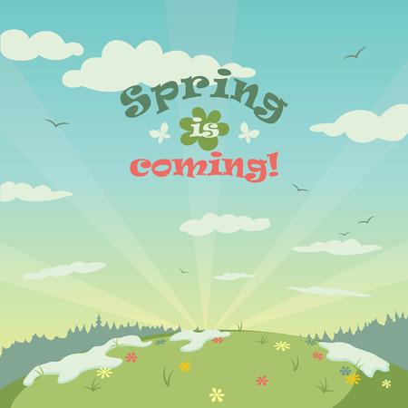 Illustrazione Primavera paesaggio con titolo