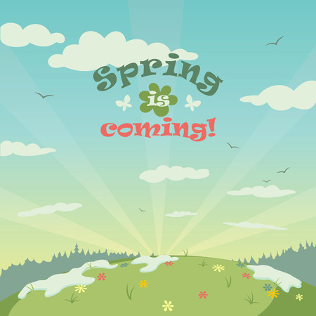 Spring landscape illustration with title
