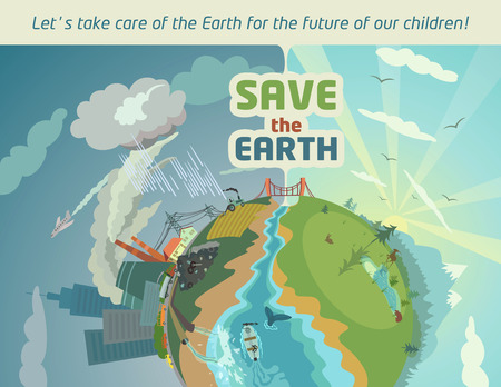 water pollution: Save the Earth eco poster