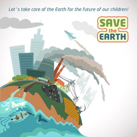 큰 도시의 오염 - 지구 환경 포스터를 저장 일러스트