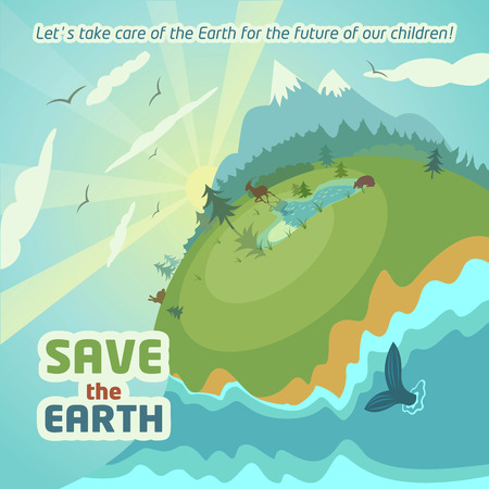 Virgin nature landscape - Save the Earth eco poster Illustration
