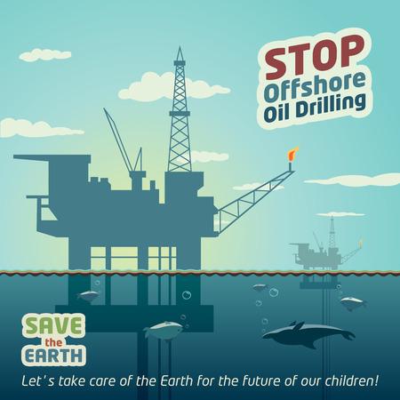 torre de perforacion petrolera: Detener la extracción de petróleo en alta mar y salvar a la Tierra Vectores