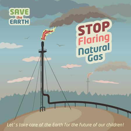 contaminacion aire: Deje de quema y venteo de gas natural - salvar la Tierra. Cartel de Eco Vectores