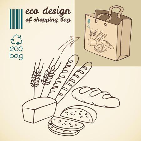 bolsa de pan: Dibujo de líneas de productos de la panadería de la impresión en la bolsa de la compra Vectores