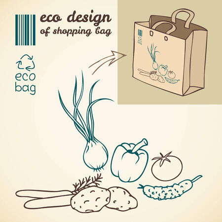 package printing: Line drawing of vegetables for printing on the shopping bag