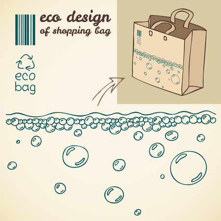package printing: Line drawing of water bubbles for printing on the shopping bag