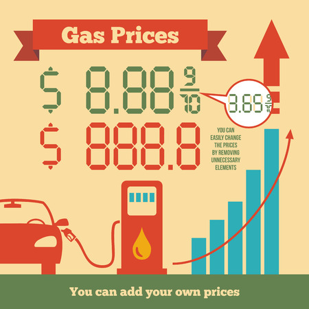 oil barrel: Infographics rising fuel prices where you can add your own fuel prices Illustration