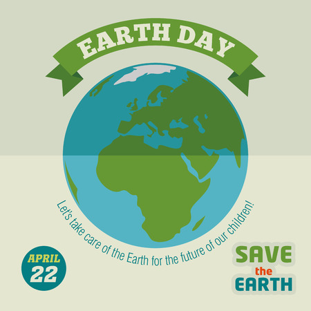 earth globe: Earth day holiday poster in flat design
