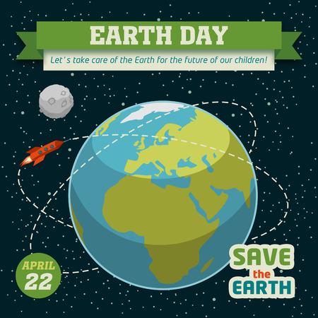 trajectoire: Affiche de la Terre jour de vacances dans la conception � plat sur fond d'espace