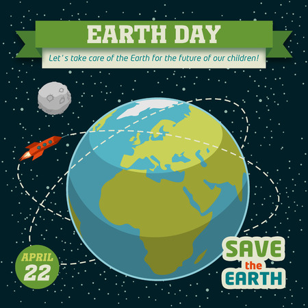 flat earth: Earth day holiday poster in flat design on space background