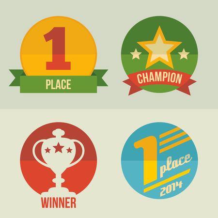 primer lugar: En primer lugar y la copa ganador icon set dise�o plano Vectores