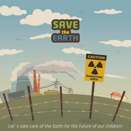 Radiation area landscape around nuclear power plant. Save the Earth eco poster Vector