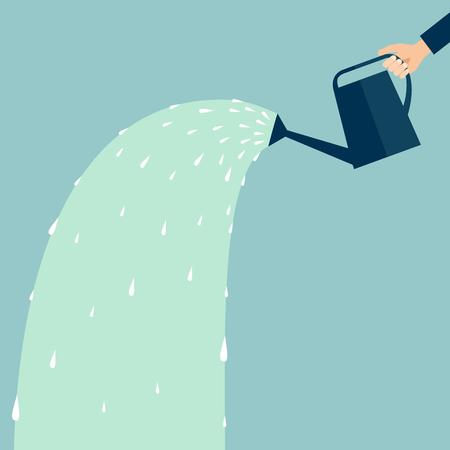 水で水まき缶を持つ手  イラスト・ベクター素材