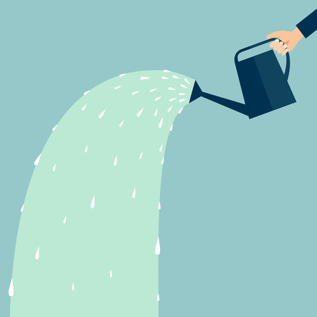Une main tenant un arrosoir avec de l'eau Vecteurs