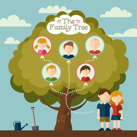 El árbol de la familia de la joven pareja de ilustración con avatares planas