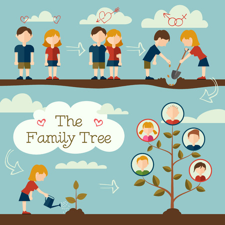 arbol geneal�gico: Pareja joven de plantar el �rbol geneal�gico concepto de dise�o Flat Vectores