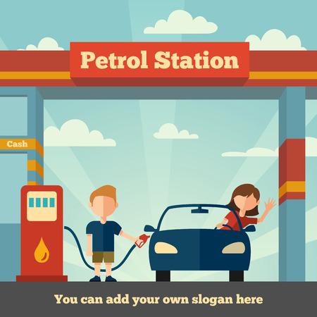gasolinera: Hombre joven ayuda a la muchacha para alimentar su coche El concepto Gasolinera
