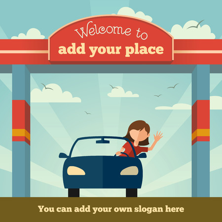 happy driver: Young girl rides a car through the gate  Welcome to, sign concept Illustration