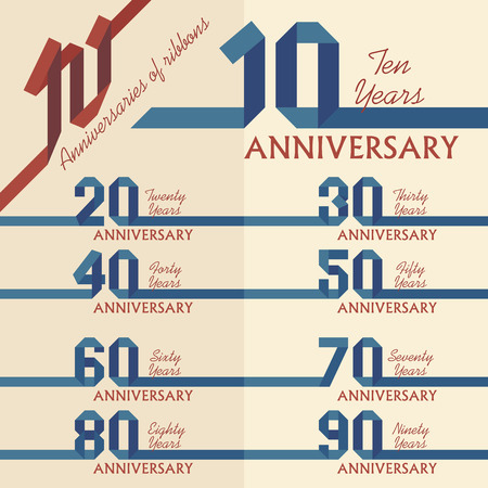 90 years: Anniversary sign collection in ribbons shape, flat design Illustration