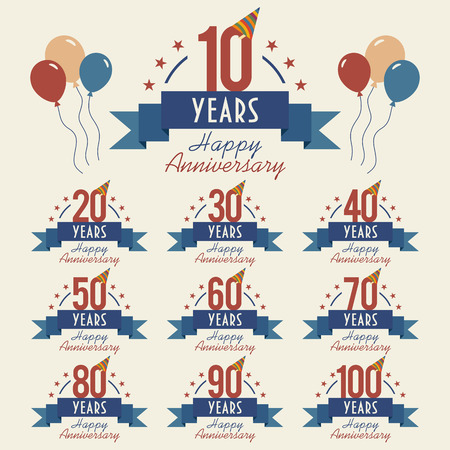 10 years: Anniversary sign collection with party hat and balloons, flat design