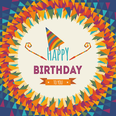Happy birthday greeting card on colorful geometric abstract background