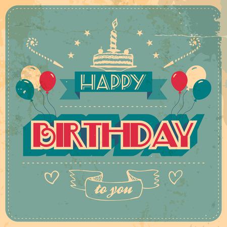 別のレイヤーにビンテージの誕生日カード グランジ効果  イラスト・ベクター素材