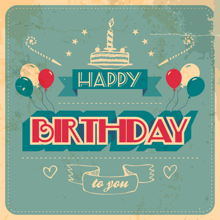 Vintage Birthday Card. Grunge effects on separate layer Vector