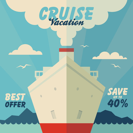 Cruise vacation and travel illustration in flat design style