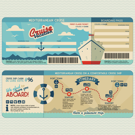 Cruise ship boarding pass flat graphic design template. Face and back side Ilustrace