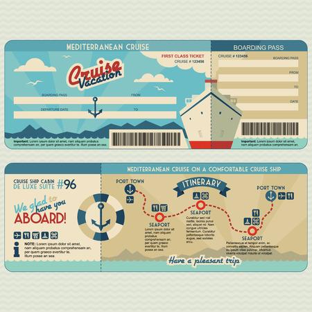 boarding card: Nave da crociera imbarco piatto modello di progettazione grafica. Viso e retro Vettoriali
