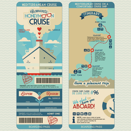 Honeymoon cruise boarding pass for just married. Flat graphic design template, face and back side Иллюстрация