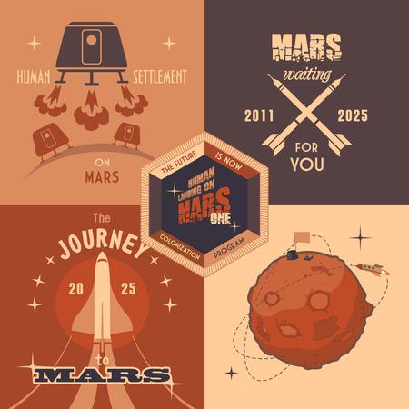colonisation: Elementi di design piatto, etichette vintage per programma di colonizzazione di Marte Vettoriali