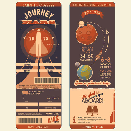 Journey to Mars boarding pass for the first settlers on the Red Planet. Flat graphic design template, face and back side