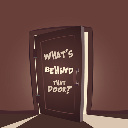 closed door: Whats behind that door. Open door illustration