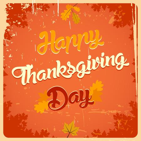 thanksgiving day symbol: Happy Thanksgiving giornata vintage poster con il titolo di calligrafia