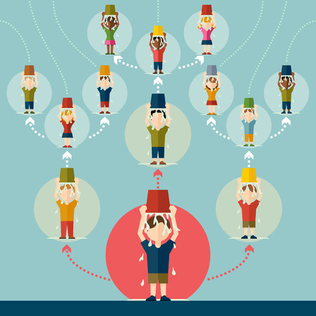 Group of people pouring cold water on their heads. Ice bucket challenge concept Illustration