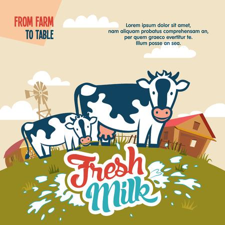 vacas lecheras: La leche fresca de la granja a la mesa cartel publicitario con la etiqueta