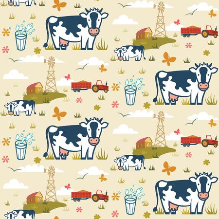 vacas lecheras: Vacas en una granja de fondo sin fisuras patrón