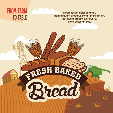 Fresh baked bread from farm to table, advertising poster with label