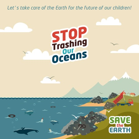 fish water: Stop trashing our oceans. Save the Earth eco illustration
