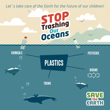 plastics: Stop trashing our oceans. Pollution of the ocean plastic debris. Save the Earth eco illustration